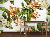White Flower Wall Mural Custom Papel De Parede Floral and Made White Flowers Wall