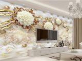 White Flower Wall Mural Gold Bedroom Walls Us $9 3 F Beibehang 3d Wallpaper Luxury