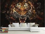 White Tiger Wall Mural Custom 3d Photo Wallpaper Boy Kids Room Mural Sticker Fierce