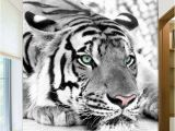 White Tiger Wall Mural Customized Black and White Tiger Animals 3d Wallpaper Mural Living Room sofa Tv Backdrop Room Entrance Wall Papers Screensaver Wallpaper Screensaver
