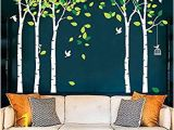 White Tree Wall Mural Fymural 5 Trees Wall Decals forest Mural Paper for Bedroom Kid Baby Nursery Vinyl Removable Diy Decals 103 9×70 9 White Green