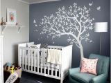 White Tree Wall Mural White Tree Decals Nursery Tree Decals with Birds