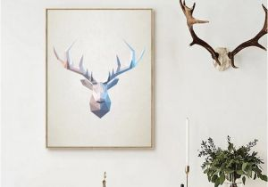 Whitetail Deer Wall Murals Abstract Deer Head Wall Art Print Geometric Polygonal