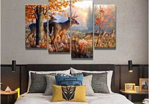 Whitetail Deer Wall Murals Amazon 4 Panel Wall Art Whitetail Deer In Autumn Sunlight