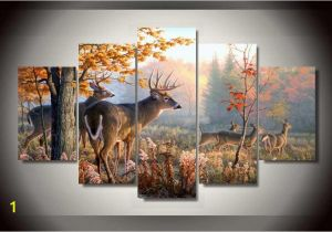 Whitetail Deer Wall Murals Deer In forest Hunters 5 Piece Wall Art Canvas