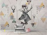 Whitetail Deer Wall Murals K Geometric Deer Removable Wallpaper Triangle Peel