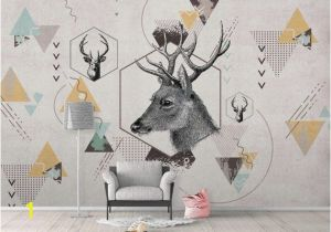Whitetail Deer Wall Murals K Geometric Deer Removable Wallpaper Triangle Peel