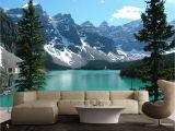 Whole Wall Mural Wallpaper Azure Blue Lake Banff Rocky Mountain 3d Full Wall Mural