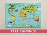 Whole Wide World Wall Mural Children S World Map Print World Map On Canvas Nursery