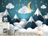 Whole Wide World Wall Mural Tapete Fototapete Kinderzimmer Babyzimmer Berge Mond