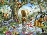 Wild Animal Wall Murals Jungle Lake with Wild Animals Wall Mural & Wallpaper