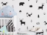 Wild Animal Wall Murals nordic Style forest Animal Wall Decals Woodland Tree Nursery Vinyl