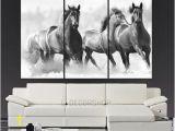 Wild West Wall Murals Wall Art Running Wild Horses Canvas Print 3 Panel