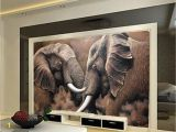 Wildlife Murals for Walls Beibehang Custom Wallpaper Hd African Elephant Stereo Oil Painting
