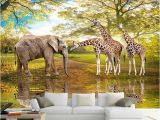 Wildlife Murals for Walls Custom 3d Wall Paper Animal World forest Elephant Giraffe