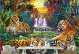 Wildlife Murals for Walls Custom Wall Paper original forest Waterfall Tigers Animal 3d