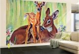 """Wildlife Murals for Walls Doe and Fawn In forest """" June 1 1940by Paul Bransom In 2018"""