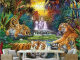 Wildlife Wallpaper Murals Custom Wall Paper original forest Waterfall Tigers Animal 3d