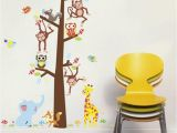 Willow Tree Mural Cartoon Animals Monkey Giraffe Owls Squirrel Tree Wall