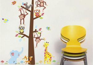 Willow Tree Mural Cartoon Animals Monkey Giraffe Owls Squirrel Tree Wall