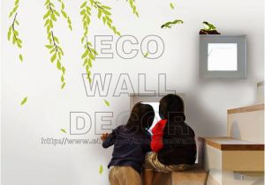 Willow Tree Mural Peel and Stick Removable Vinyl Wall Sticker Mural Decal Art Green