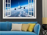Window Cling Murals 3d Landscape Wallpaper Airplane Wall Sticker Decal Vinyl Wall Art