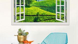 Window Cling Murals 3d Window Decal Wall Sticker Green Tea Garden Beautiful Landscape