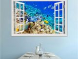 Window Cling Murals 3d Window View Underwater World and Fish Wall Stickers Decals Pvc
