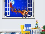 Window Cling Murals Cartoon Merry Christmas Sticker Window Scenery 3d Wallpaper Wall