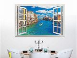 Window Cling Murals Fashion Venice Italy 3d Window View Wall Stickers Mural