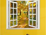 Window Murals for Home 3d Window View Yellow Wood 3d Wall Decals Autumn View Stickers Home