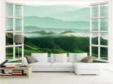 Window Murals for Home Customized Retail 3d Windows Landscapes Walls Rolling Hill Murals In