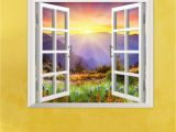 Window Murals for Home Sunrise 3d Artificial Window Pag Wall Decals Hill View Room Stickers