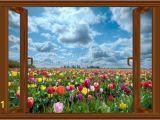 Window Murals for Walls 3d Window Decal Wall Sticker Home Decor Tulips Field View