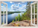 Window View Wall Mural Lake View Wall Decal Lake Wall Mural Lake Wall Sticker