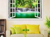 Window Wall Murals Uk 3d Window View Decals Waterfall Scenery Landscape Wallpaper Wall Mural Stickers Pvc Vinyl Sticker Home Decoration Train Wall Stickers Tree Decals From