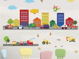Window Wall Murals Uk Decalmile Construction Kids Wall Stickers Cars Transportation Wall Decals Baby Nursery Childrens Bedroom Living Room Wall Decor