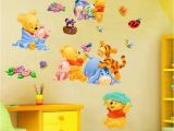 Winnie the Pooh Nursery Wall Murals 3d Baby Bear Cartoon Diy Wall Sticker for Kid Rooms In 2019