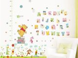 Winnie the Pooh Wall Mural Stickers Winnie the Pooh 26 Letters Home Decor Height Measure Wall Stickers Diy Alphabet Mural for Kids Rooms Bedroom School Decal