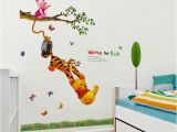 Winnie the Pooh Wallpaper Murals Animal Cartoon Winnie the Pooh Tree Wall Stickers for Kids Baby