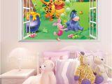 Winnie the Pooh Wallpaper Murals Cartoon 3d Window Winnie Pooh Bear Tiger Pig Wall Stickers for Kids