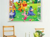 Winnie the Pooh Wallpaper Murals Cartoon Winnie Pooh Window Wall Sticker for Kids Room Bedroom Bear
