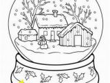 Winter Cabin Coloring Pages Printable Christmas Snow Globe Coloring Pages for Kids