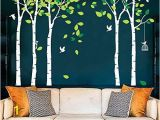 Winter forest Wall Mural Fymural 5 Trees Wall Decals forest Mural Paper for Bedroom Kid Baby Nursery Vinyl Removable Diy Decals 103 9×70 9 White Green