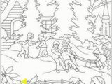 Winter Scene Coloring Pages Snowy Winter Christmas Scene Coloring Page
