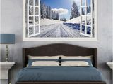 Winter Scene Wall Murals 3d Window Wall Stickers Home Decor forest Tree Snow Winter Landscape Wallpaper Murals Vinyl Wall Art Decal Wall Stickers Decoration Wall Stickers