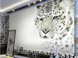 Winter Scene Wall Murals Custom 3d White Leopard Wallpaper Mural Stylish Backdrop