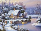 Winter Scene Wall Murals Winter Countryside — Snow Landscape Paint by Numbers