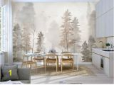 Winter Trees Wall Mural Hand Painted Plant forest Trees Wallpaper Wall Mural Trees