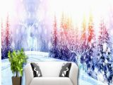 Winter Trees Wall Mural Us $16 25 Off Wallpaper 3d Winter Snowy Mountain Pine Elk Mysterious White World Living Room Hotel Background Wallpaper Murals W Tapety Od